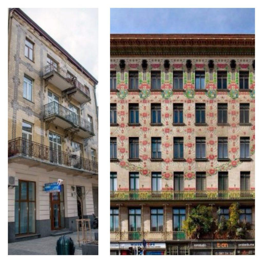 Замовником проекту і власником будинку у 1907-1910 був Ісаак Сандель.  Перший поверх кам яниці рустований і призначений був для «Японської  кав ярні» 19e0825287768